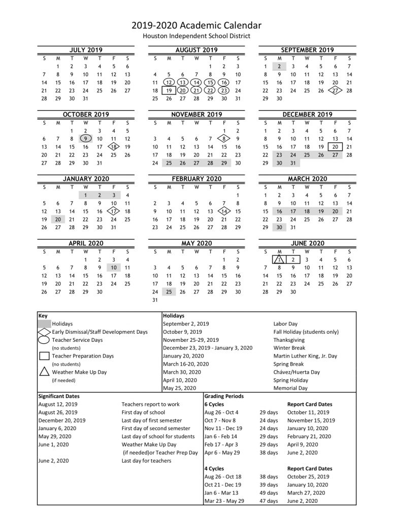 Hisd 2019 Calendar HISD academic calendar for 2019 20 is finalized — with a new